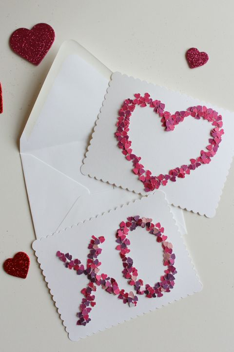 diy valentines day card confetti