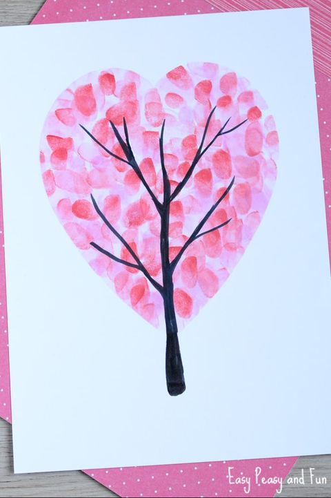 diy valentines day card fingerprint tree