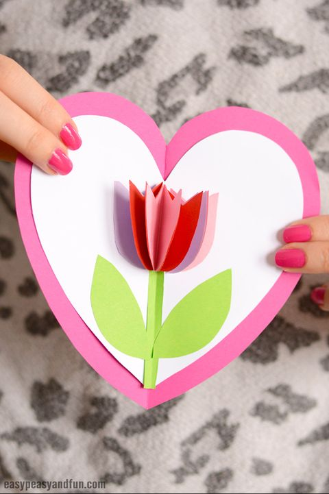 diy valentines day card pop up tulip
