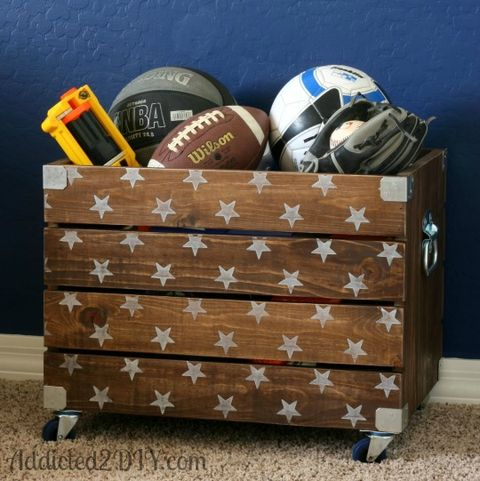 DIY toy boxes DIY Industrial Wood Crate Toy Box