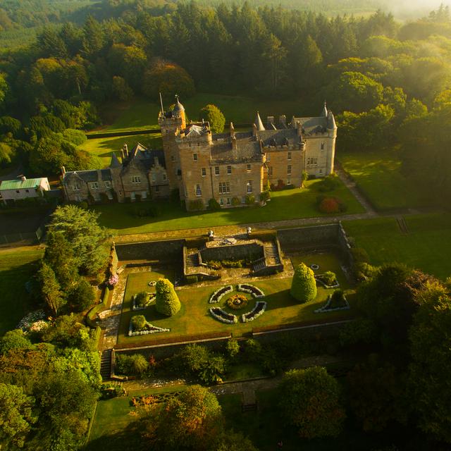 an ariel view of glenapp castle