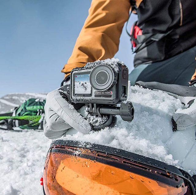 skier using dji osmo action camera