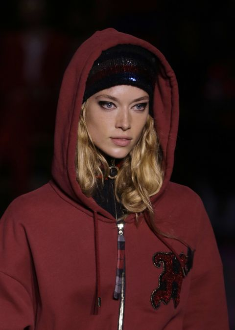 Outerwear, Fashion, Clothing, Red, Hoodie, Fashion show, Jacket, Fun, Hood, Event,