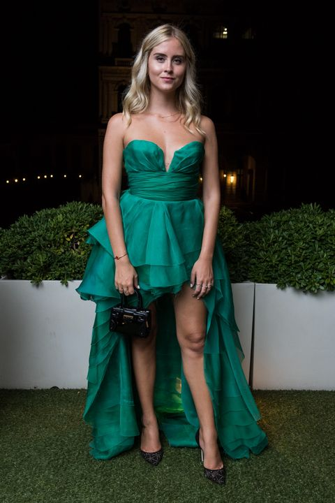 Clothing, Dress, Cocktail dress, Green, Gown, Shoulder, Fashion, Formal wear, Fashion model, Strapless dress,