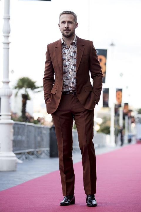 Suit, Clothing, Formal wear, Fashion, Tuxedo, Pantsuit, Brown, Blazer, Street fashion, Outerwear,