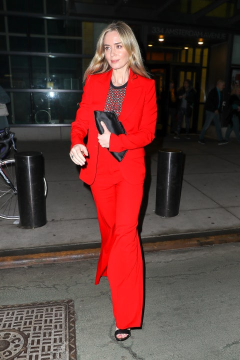 Clothing, Pantsuit, Red, Suit, Street fashion, Fashion, Outerwear, Formal wear, Textile, Haute couture,