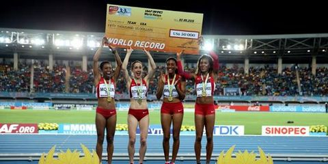 U.S. women after setting world record for distance medley relay at 2015 World Relays