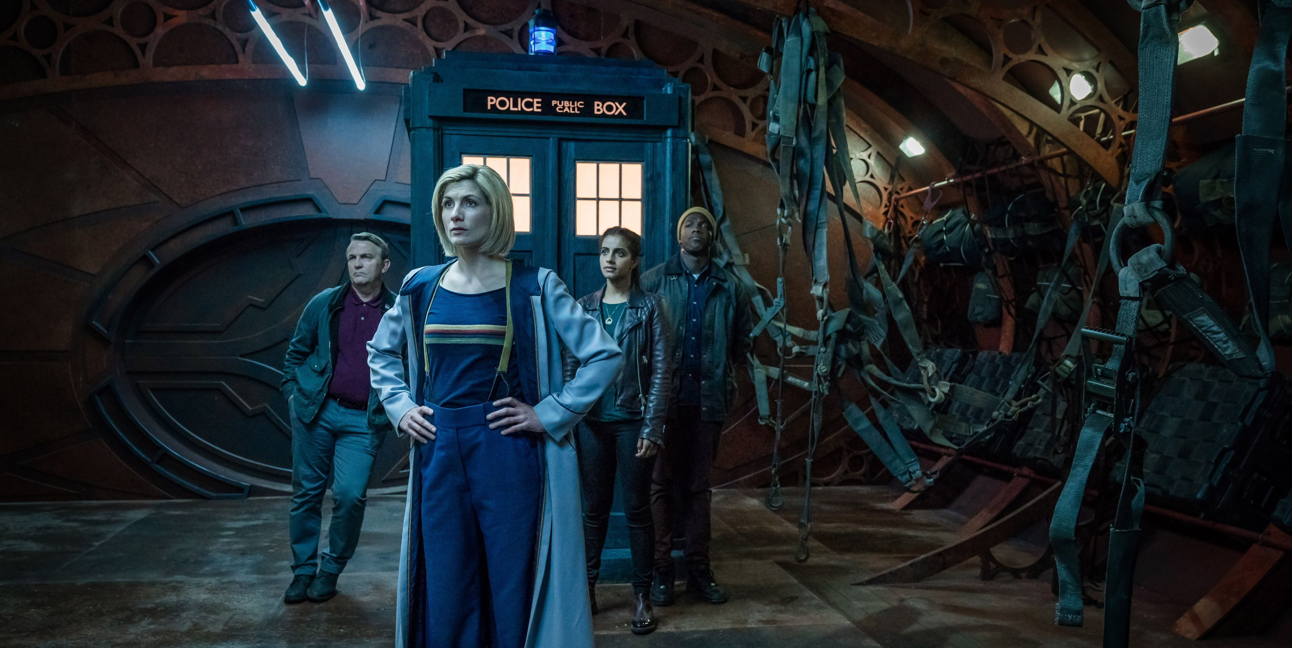 Jodie Whittaker, Bradley Walsh, Tosin Cole and Mandip Gill in Doctor Who series 11
