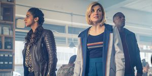 Doctor Who series 12 episode 5, Jodie Whittaker's Doctor with Yaz (Mandip Gill) and Ryan (Tosin Cole)