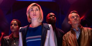 Jodie Whittaker, Bradley Walsh, Tosin Cole, Mandip Gill and Aruhan Galieva in Doctor Who series 12 episode 7