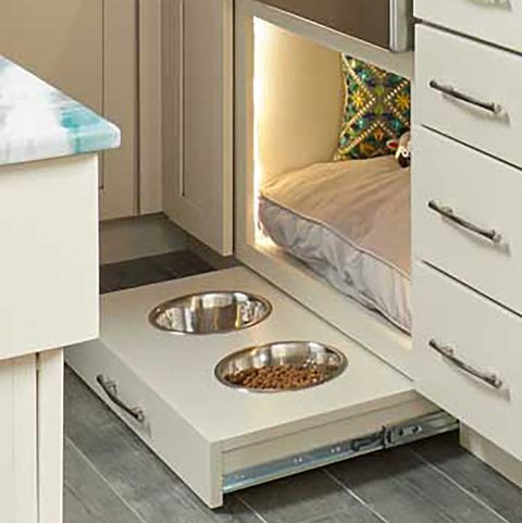dog bed under sink, pet friendly kitchen, dog food bowl and water bowl