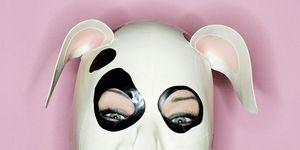 Woman wearing a dog mask