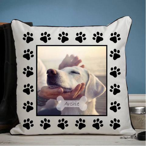 Dog Paw Piped Edge Photo Cushion