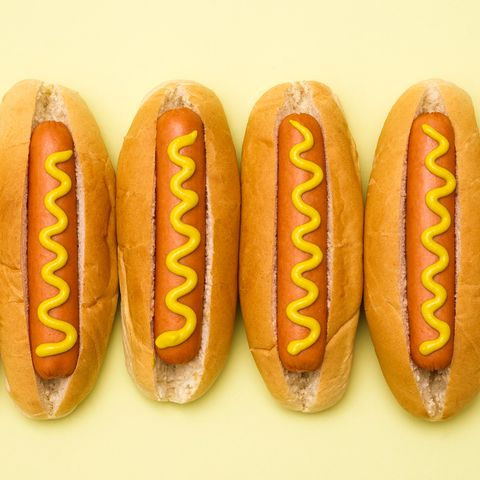 Hot dog bun, Fast food, Food, Yellow, Bread, Sausage bun, Cuisine, Baked goods, Frankfurter würstchen, Hot dog,