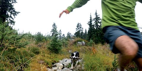 Man Running Trails with Dog