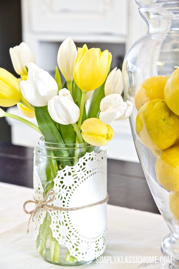 doily tulip vase easter floral centerpiece