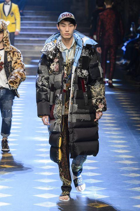 Fashion, Runway, Fashion show, Fashion model, Street fashion, Camouflage, Fashion design, Human, Winter, Fur,
