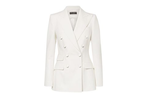 Clothing, Outerwear, White, Blazer, Jacket, Suit, Formal wear, Sleeve, Top, Button,
