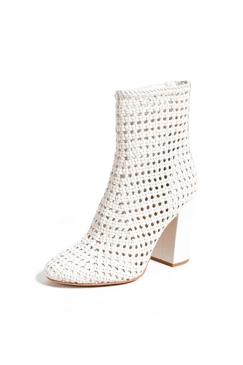 Footwear, White, Shoe, Beige, High heels, Boot, Joint, Fashion accessory, Leather, Wedge,