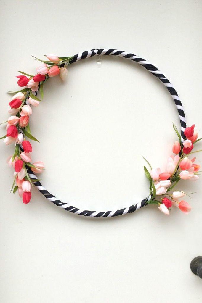 hula hoop wreath dollar store craft