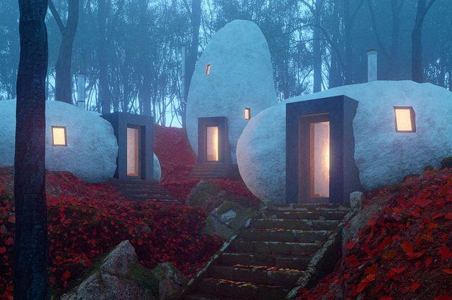 hotel de dólmenes imaginado por davit y mary jilavyan
