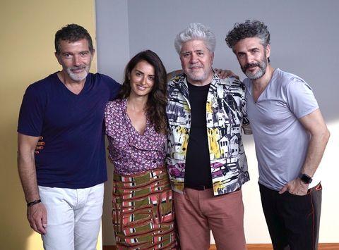 """Antonio Banderas, Penélope Cruz, Pedro Almodóvar y Leonardo Sbaraglia en """"Dolor y gloria"""""""