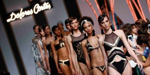 Fashion model, Lingerie, Bikini, Clothing, Fashion, Model, Fashion show, Runway, Swimwear, Undergarment,