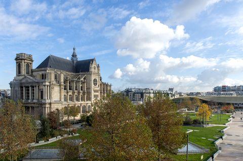view from paris restaurant la halle aux grains, with the gothic church of saint eustache