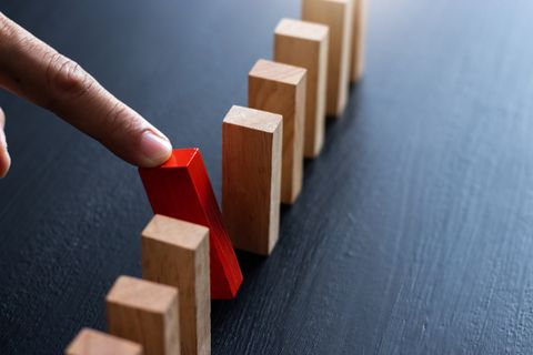 domino,wooden block,business risk, strategy and planing concept idea