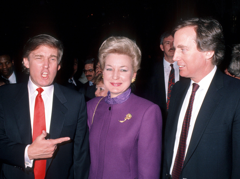 Donald Trump, Maryanne Barry Trump, and Robert Trump during opening of Donald Trump's Taj Mahal Casino in 1990.