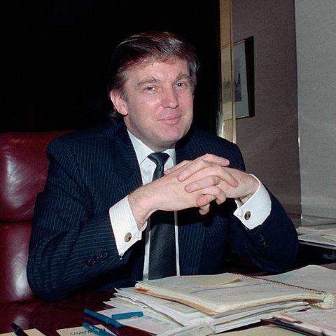 Donald Trump Gestures at His Desk