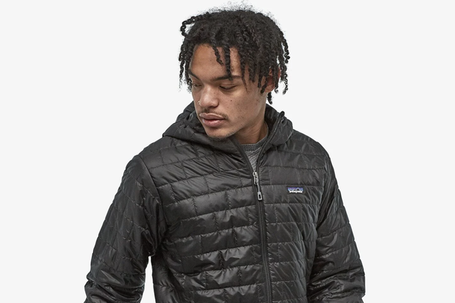 a model wearing an insulated jacket