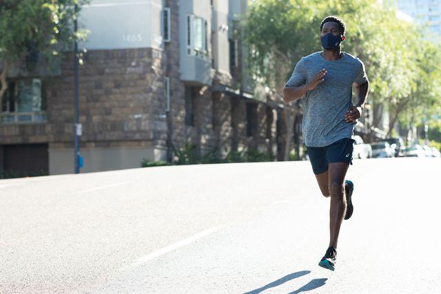 a runner wearing a face mask