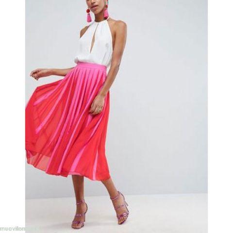 Clothing, Dress, Pink, Fashion model, Shoulder, Neck, Magenta, Waist, Day dress, Fashion,