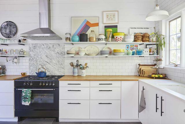 white kitchen, wooden countertops