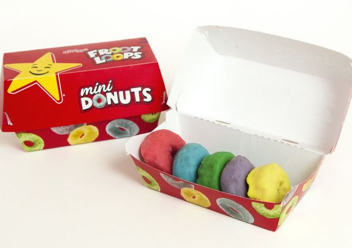Image result for carls jr froot loop donuts