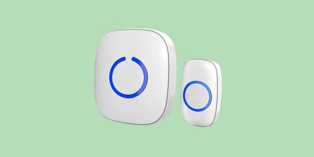 white doorbells on a light green background