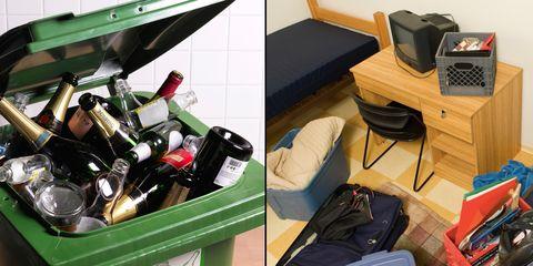 Room, Bottle, Bag, Drink, Luggage and bags, Glass bottle, Alcoholic beverage, Distilled beverage, Living room, Alcohol,