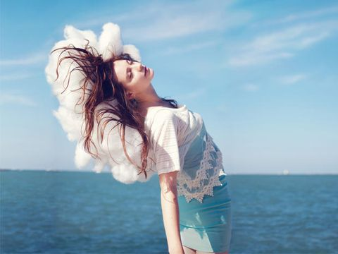 Sky, Sleeve, Human body, Shoulder, People in nature, Summer, Ocean, Elbow, Beauty, Youth,