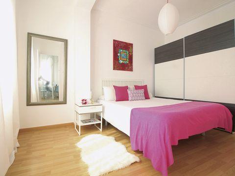 Bedroom, Furniture, Room, Bed, Property, Interior design, Pink, Floor, Bed sheet, Bed frame,
