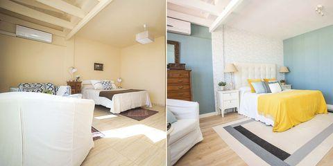 dormitorio actual y fresco antes y después
