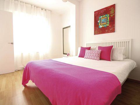 Bedroom, Bed, Bed sheet, Bedding, Furniture, Room, Property, Pink, Interior design, Bed frame,