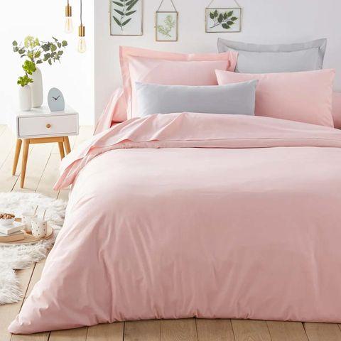 funda nórdica en rosa empolvado