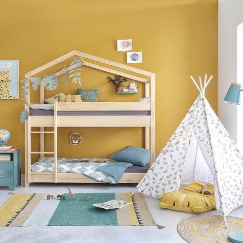 decoración infantil con litera casita y tipi
