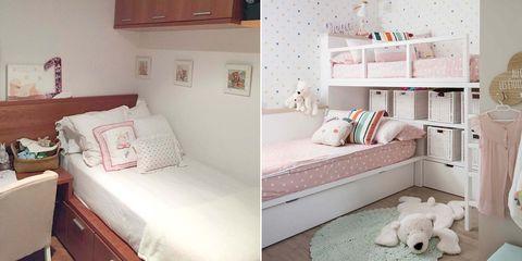 dormitorio infantil con literas tipo tren antes y después