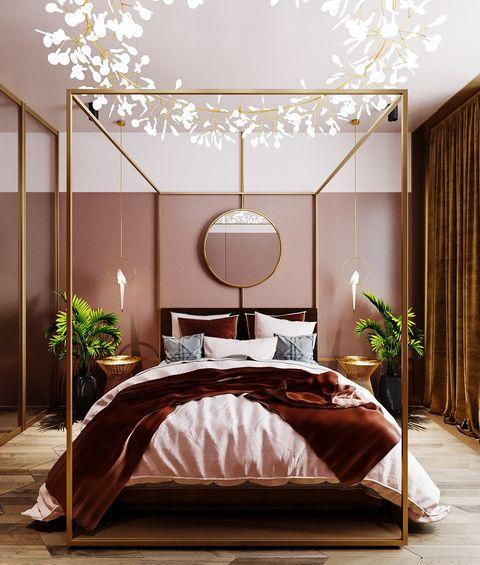 Dormitorio con lámpara con forma floral y cama con dosel
