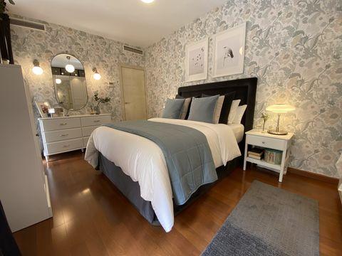 dormitorio de estilo clásico y romántico decorado con muebles de ikea