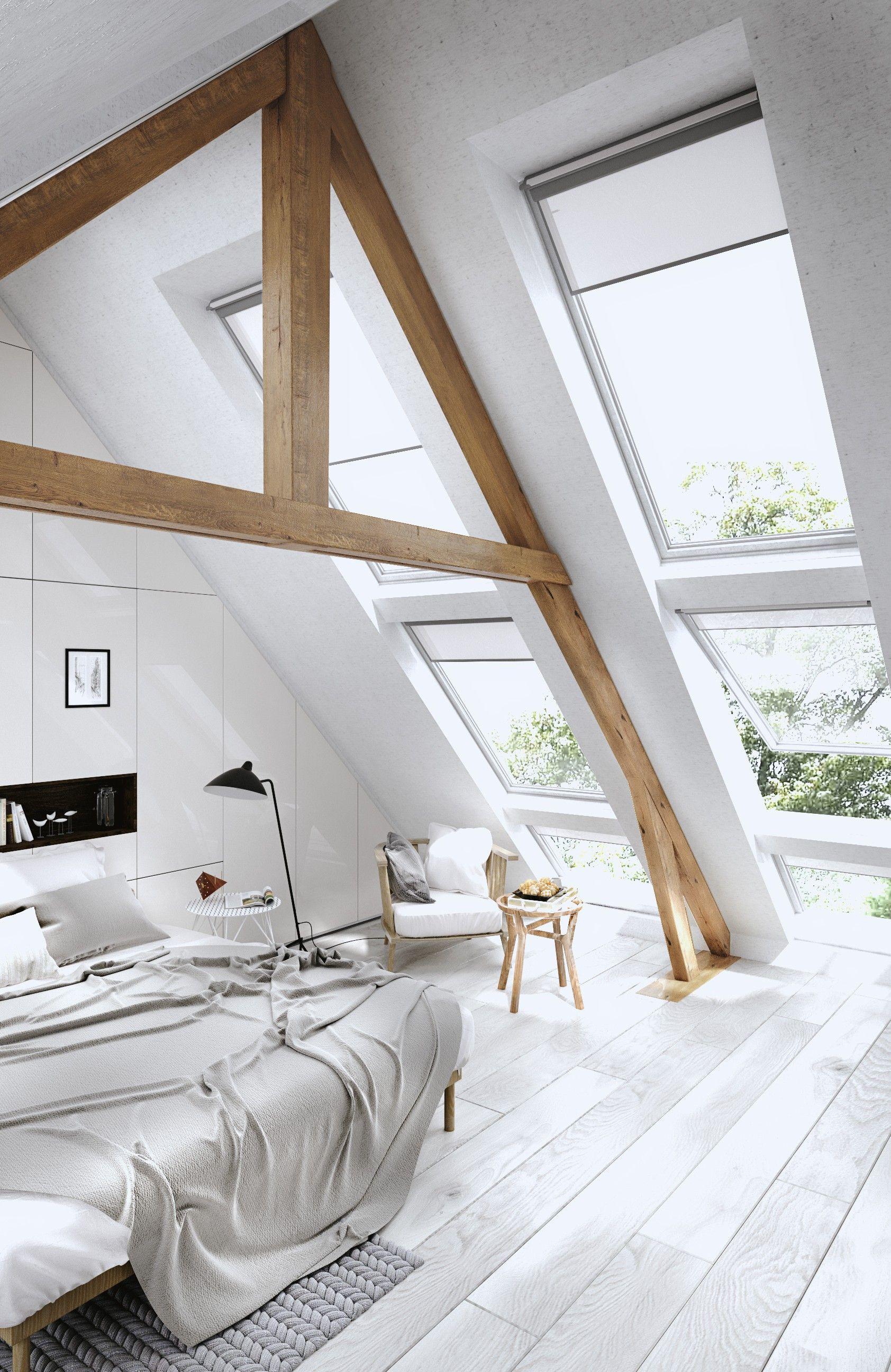 Dormitorio de estilo rústico moderno con vigas de madera expuestas