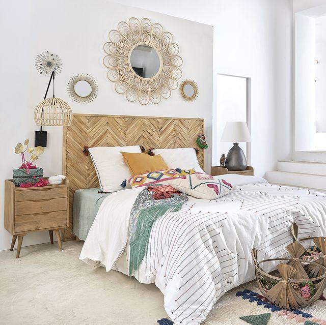 dormitorio con textiles frescos