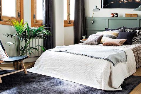 dormitorio masculino cabecero de cuarterones